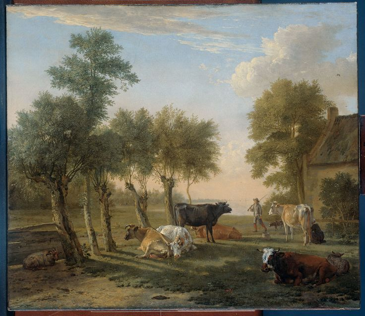 Paulus Potter, Cows in the meadow near a farm. 1653