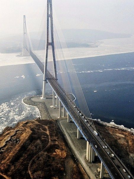 Winter bridge in Vladivostok, #Russia. Guess what's its official name? You won't believe it :) The Russky Bridge! Russky is the spelling for Russian :) The bridge connects the mainland part of the city (Nazimov peninsula) with ... Russky Island. Too much of Russian in a couple of phrases, we agree :)