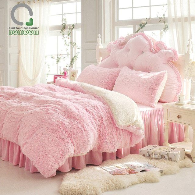 Luxury Pink Plush Shaggy Duvet Cover Set With Images Pink
