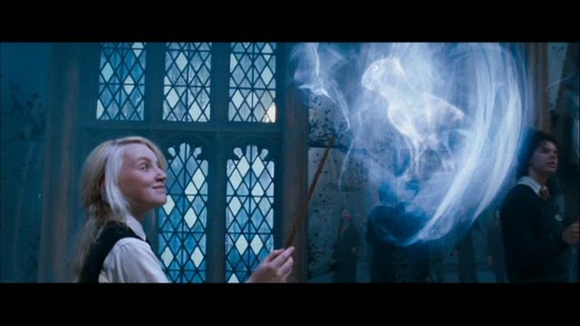 Luna Lovegood summoning her patronus, which is a rabbit. A patronus is a charm invoked by wizards to protect them from dark forces such as Dementors. Harry's is a stag, Hermione's is an otter, Snape's is a doe, Ginny's is a horse and Ron's patronus is a Jack Russell Terrier