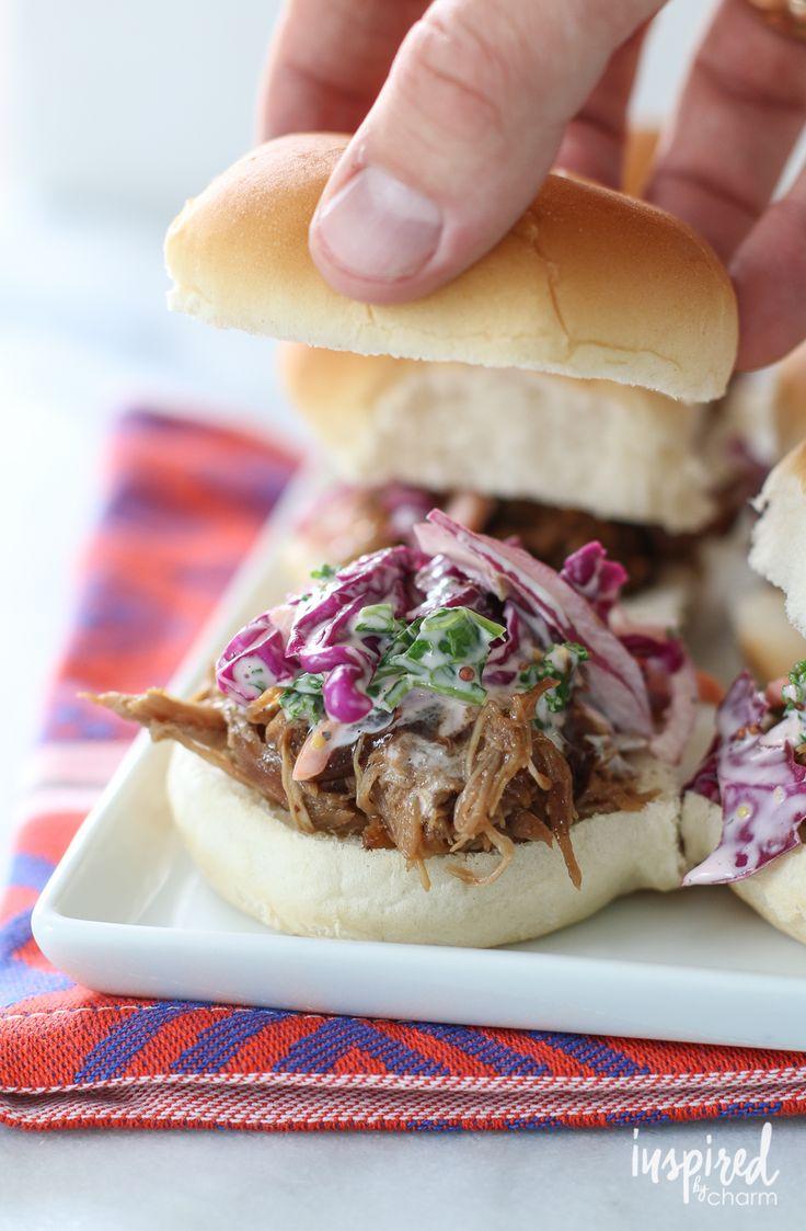 Red Cabbage Coleslaw / Pulled Pork Sliders | inspiredbycharm.com