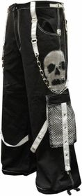 "Tripp NYC ""Ghost Skull"" Bondage Pants (Black/White)"