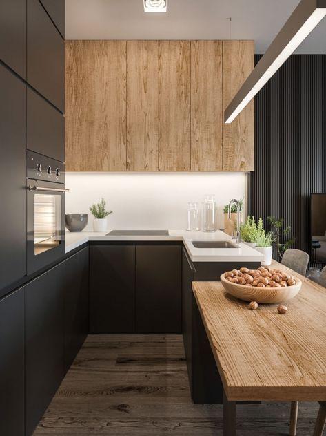 aménagement cuisine en U avec meubles haut en bois sans poignées et ...