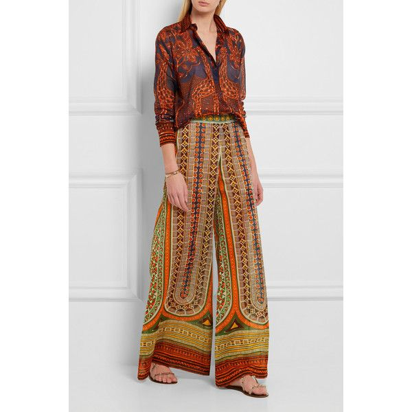 Valentino Printed cotton-voile wide-leg pants ($1,800) ❤ liked on Polyvore featuring pants, valentino pants, multi colored pants, tribal wide leg pants, tribal print pants and tribal print trousers