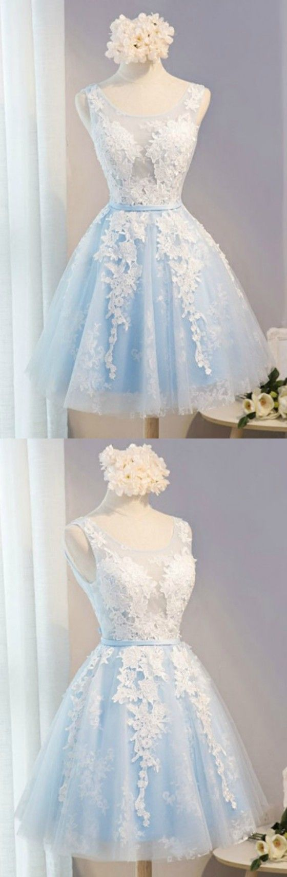 Blue A-line Scoop Neck Short Tulle Homecoming Dress With Appliques Lace
