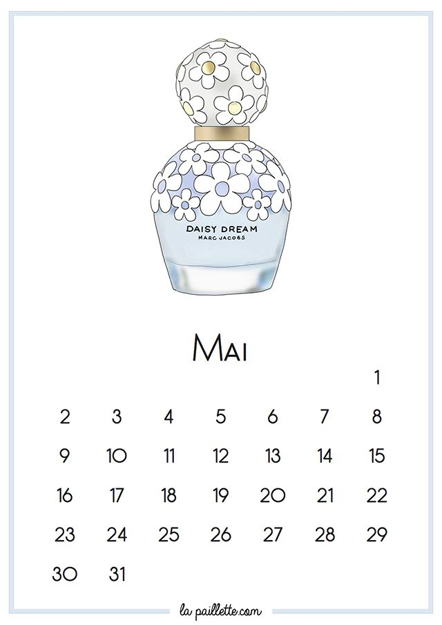 Calendrier Mai fond d'écran organisé desktop calendar categories Daisy Dream Marc Jacobs la paillette blog illustration illustratrice illustrator blue white flowers sweet cute drawing