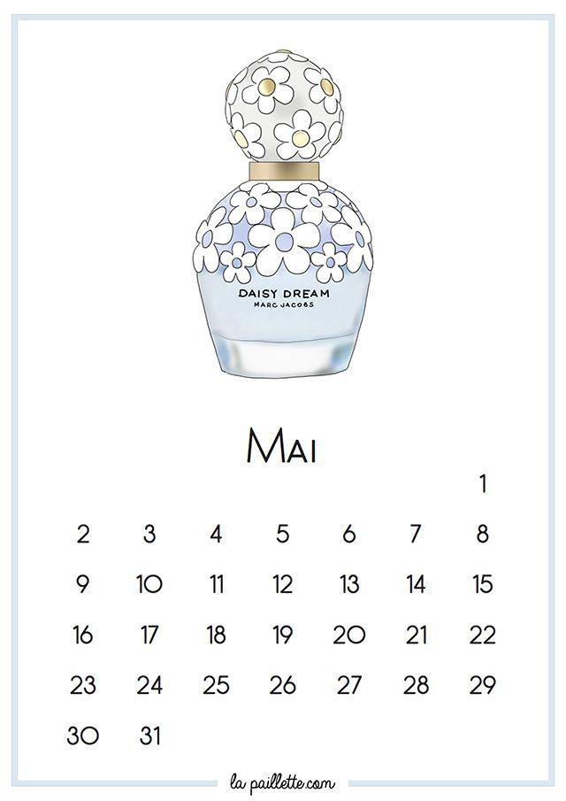Calendrier Mai fond d'écran organisé desktop calendar categories Daisy Dream Marc Jacobs la paillette blog illustration illustratrice illustrator blue white flowers sweet cute drawing