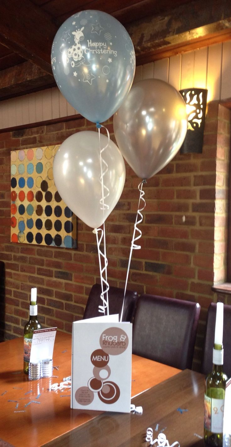 Christening balloons in pale blue giraffe with silver and white xx
