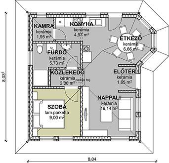 Kicsi 59 energiatakarékos könnyűszerkezetes ház alaprajza