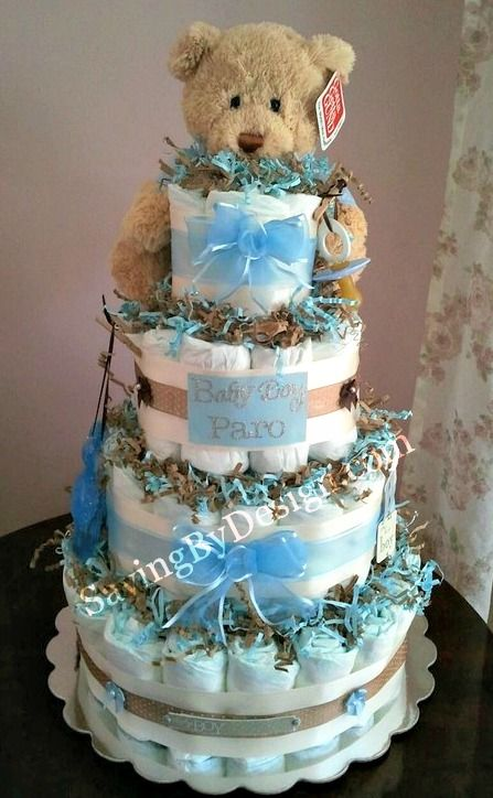 boy teddy bear diaper cake