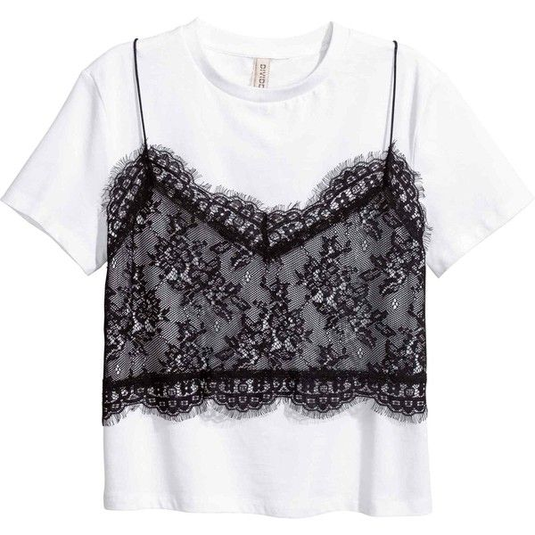 T-shirt with a lace cami (165 GTQ) ❤ liked on Polyvore featuring tops, t-shirts, cami top, v neck lace camisole, v neck t shirts, short t shirt and lace t shirt