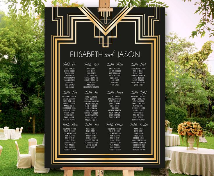 Great Gatsby Inspired Seating Chart for wedding and parties - PRINTABLE File - customised - ready to print by redlinecs on Etsy https://www.etsy.com/listing/236402927/great-gatsby-inspired-seating-chart-for