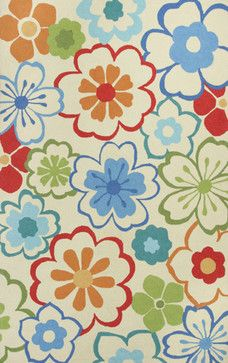 "Floral Splash Ivory Sonesta Floral 2' x 7'6"" Runner Kas Rug  by RugLots tropical rugs"