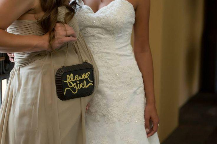 Flower Girl - Pregnant Bridesmaid with a little girl - Flower Girl Sign