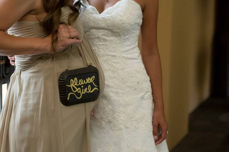 Flower Girl - Pregnant Bridesmaid with a little girl - Flower Girl Sign