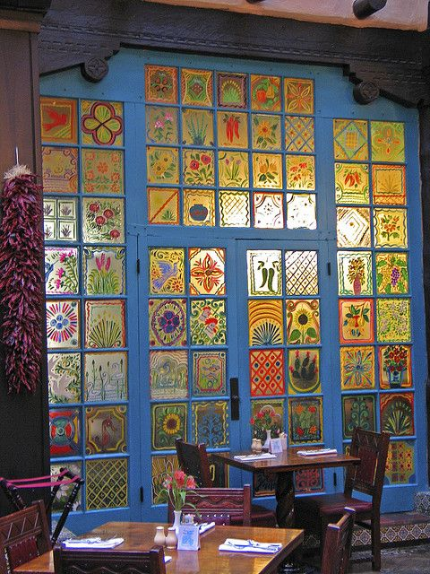 La Fonda Hotel painted windows, Santa Fe, NM.  there's a DIY craft that uses wax paper and markers for a stained-glass window look.