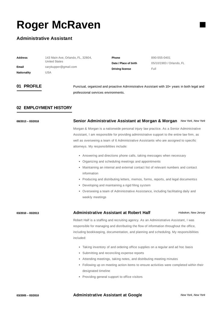 Administrative Assistant Resume Samples Interesting 10 Best Administrative Assistant Resume Samples Images On Pinterest