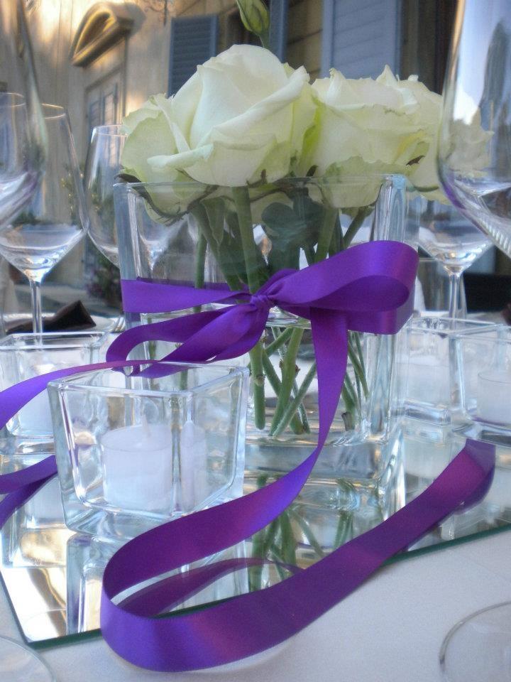Centro tavola in viola