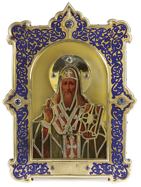 A FINE AND IMPORTANT RUSSIAN PRESENTATION ICON OF ST. ALEXIS, 1ST ARTEL, MOSCOW 1908-1917.    Price realized $22,800