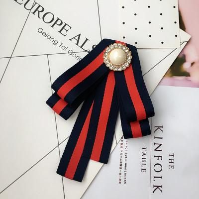 Free shipping new 2017 WOMAN female lady fashion Korean Embroidery Rose striped bow brooch shirt collar tie dress Headdress