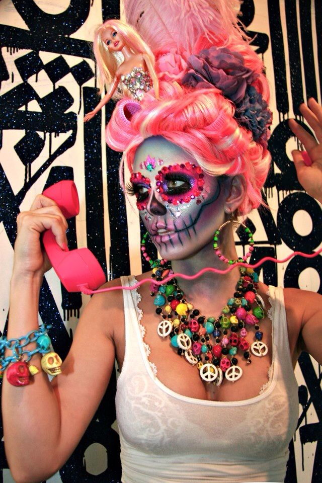 Day of the Dead Sugar Skull Make-Up Meets the 1980s - Model / Make-Up Artist Lindsay Hancock