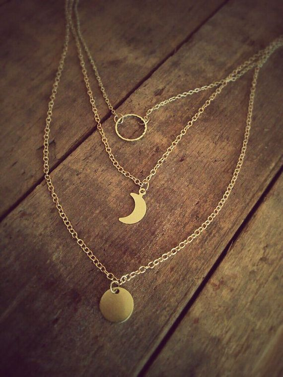 Lunar Cycle Necklace Layer Gold Moon Necklace Gold