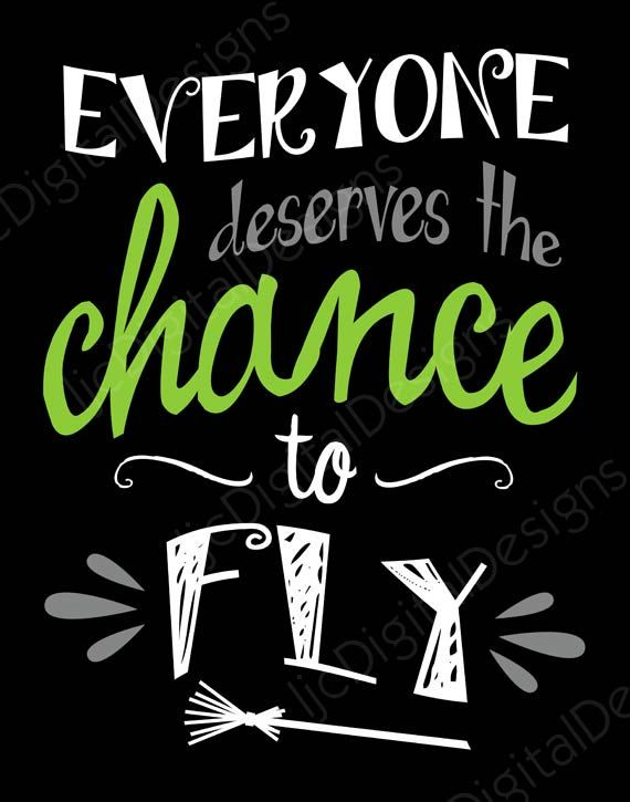 Wicked Musical Fan Art - Everyone Deserves the Chance to Fly quote digital print.  This is a digital JPG (300 dpi) file that is available for immediate download in both 11x14 and 8x10 size.  You print at home or at a local or online photo lab, then frame and hang for a fun, cute, and unique decoration for your favorite Wicked musical fan.  Want even more Wicked word art? Get this item included in a set of four and save! Click here: https://www.etsy.com/listing/293799963  This digital artwork…