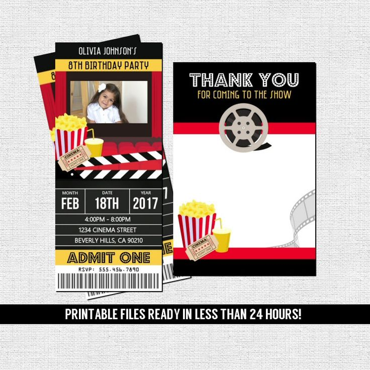 352 best Invitations images on Pinterest Ticket invitation, Card - create your own movie ticket