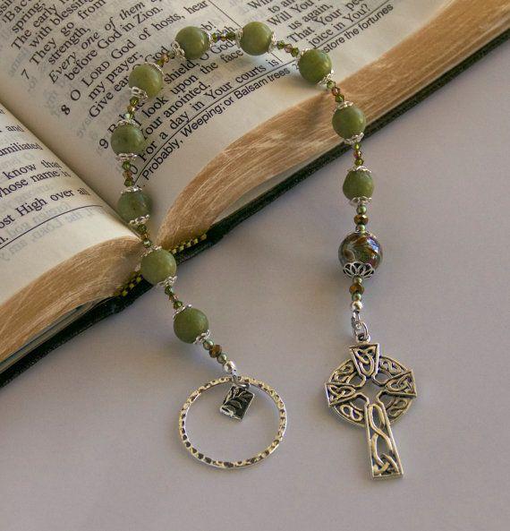 Irish Celtic prayer Beads, Chaplet, Connemara Marble and Sterling Silver