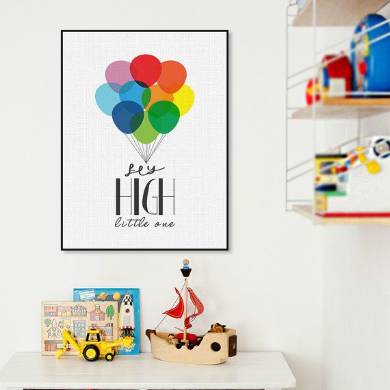 Freeshipping Nordic Minimalist Colorful Ballons Typography Fly Quotes Art Print Poster Nursery Wall Art Baby Room Canvas Painting Home Decor by PicSaying