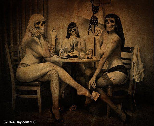 Poker PicsSkull, Strips Poker, Bones, Girls Night, Art, Dark, Pinup, Pin Up, Cards Games