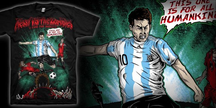 """""""Messi vs The Zombies"""" t-shirt design by markusmanson"""