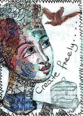 Create freely.  ATC,  In style of Deb Weiers. Available.