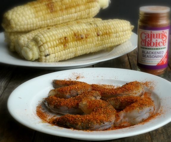 """Almost """"sauceless"""" Creamy Corn Fettuccine with Blackened Shrimp, what a meal from NoblePig.com"""