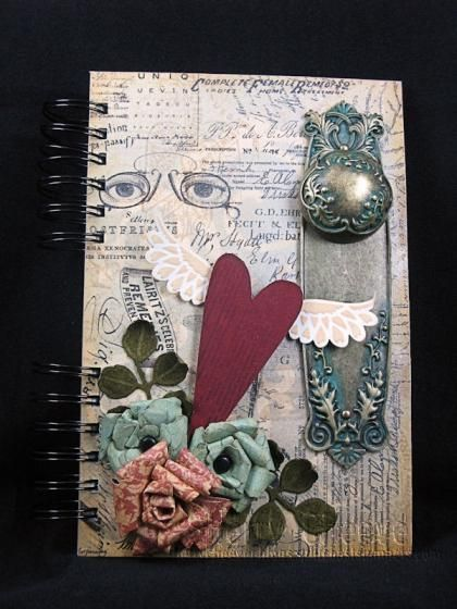 AJ cover. Caught my eye because I have one of those big handle things and couldn't think what to do with it.: Journals Covers, Crafts Ideas, Graphic45 Journals, Art Journals, Spellbinders Graphic45, Graphics 45, Altered Journals, Covers Ideas, Art Journaling
