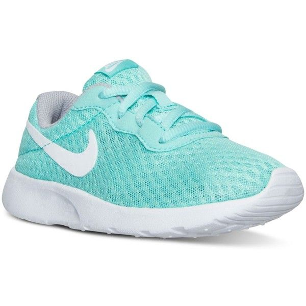 Nike Little Girls' Tanjun Casual Sneakers from Finish Line ($50) ❤ liked on Polyvore featuring shoes, sneakers, nike sneakers, nike, nike footwear, nike trainers and nike shoes