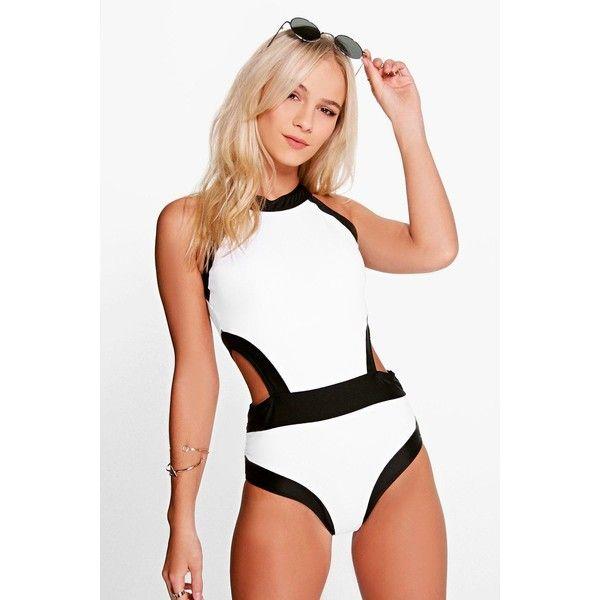 Boohoo Petite Petite Zoe Colour Block Cut Out Detail Swimsuit ($35) ❤ liked on Polyvore featuring swimwear, bikinis, tops, white, swimsuits two piece, bandeau bikini, triangle bikini, high waisted two piece swimsuit and high waisted swimsuit
