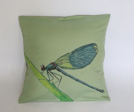 Dragonfly Pillow Decorative Pillow Cover by FennekArtDesign