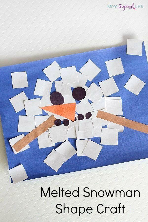 """Laat het kind witte vierkantjes knippen. Maak hiermee een sneeuwpop die aan het """"smelten"""" is! Twee oogjes een neus, kooltjes voor een mond en twee stokjes als armpjes van knutselpapier en klaar is de sneeuwpop. Het knippen is ook gelijk weer geoefend. Heel veel plezier! Groeten Team Tip van de juf!"""