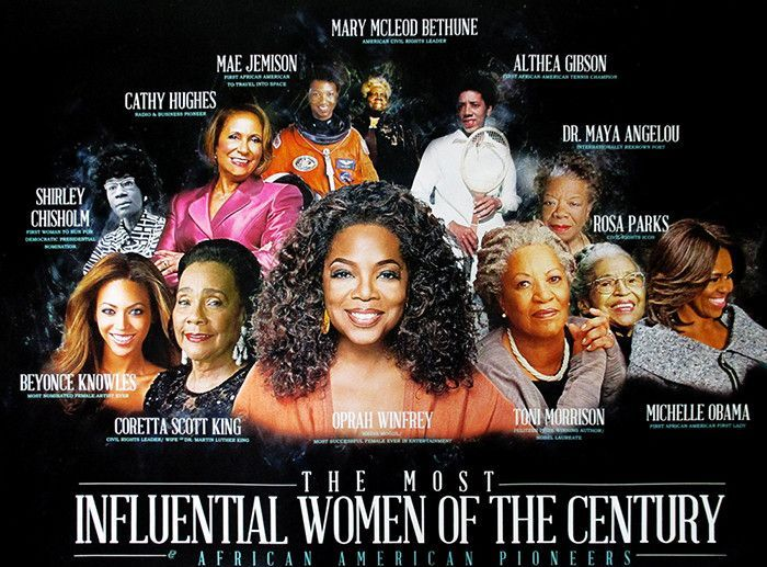 Description: The Most Influential Women of the Century -- Famous African American women pioneers poster. Features Shirley Chisholm, Cathy Hughes, Mae Jemison, Mary McLeod Bethune, Althea Gibson, Dr. M