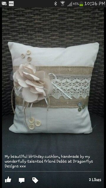 Birthday cushion with flower with ribbon and twine