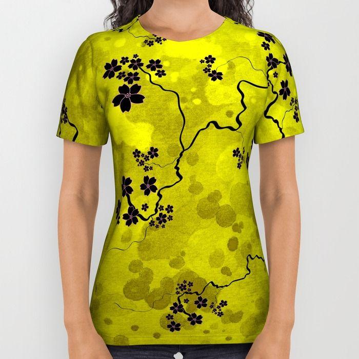 Spring Blossom All Over Print Shirt by Jollybird Designs   Society6 #spring #blossom #yellow #sakura #cherryblossom #illustration