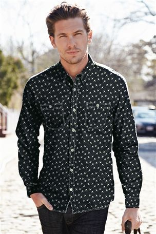 40ce6a42525 Cocorico Print Black Slim Fit Printed Shirt - Zodiac Online. Shirts Custom  Shirt - Part 422