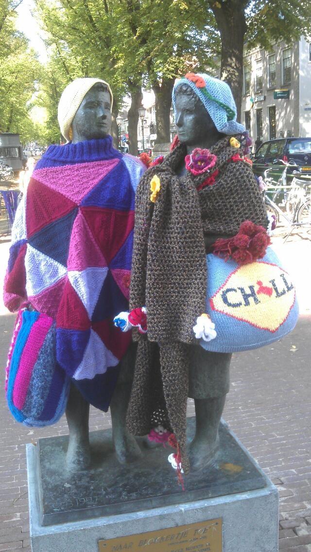 Yarn bombing in Hoorn in Holland