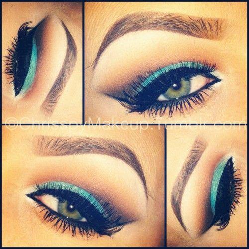 : Colors Combos, Make Up, Cat Eye, Eye Makeup, Teal, Eyemakeup, Eyebrows, Blue Eyeshadows, Green Eye