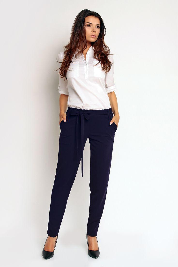 Wizytowe spodnie damskie z kokardą