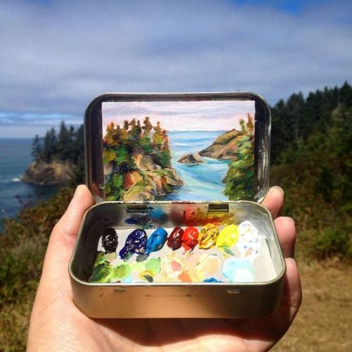 Miniature Landscape Paintings on Mint Tins  Heidi Annalise