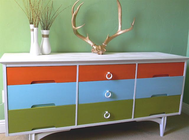 Beer Budget Decor: Awesome multi colored funky dresser!
