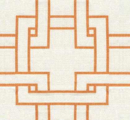 thom filicia orange and cream geometric line fabric for kravet could be great in the entry