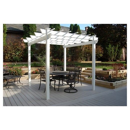 The Kingston Pergola is designed by Dura-Trel, Inc. This stunning white pergola can add a formal or casual style that suits every need. It has an open-air design that is easy to assemble and even easier to maintain. It comes pre-drilled and pre-cut for easy assembly. All of Dura-Trel's products are made in the USA.